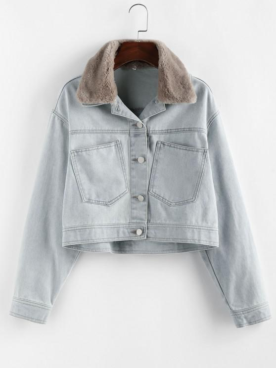 fashion ZAFUL Pocket Faux Fur Collar Drop Shoulder Denim Jacket - LIGHT BLUE S