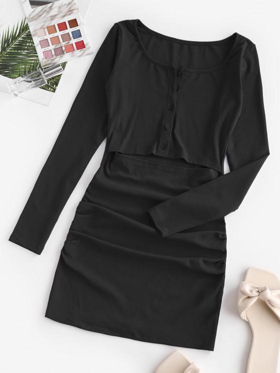latest Half Buttoned Cut Out Draped Mini Dress - BLACK S