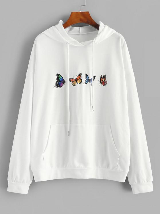 hot ZAFUL Drop Shoulder Butterfly Print Hoodie - WHITE L