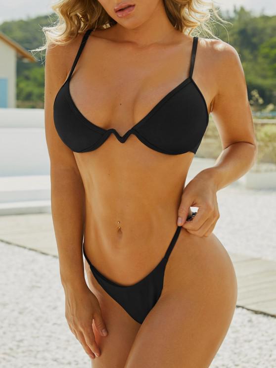 ZAFUL Strukturierte Bügeln Bikini Badebekleidung - Schwarz S