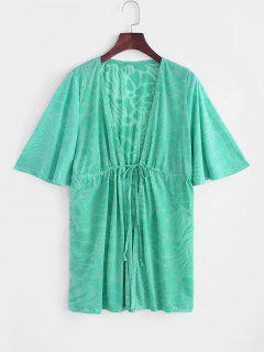 Drawstring Plunge Kimono Beach Cover Up - Light Green