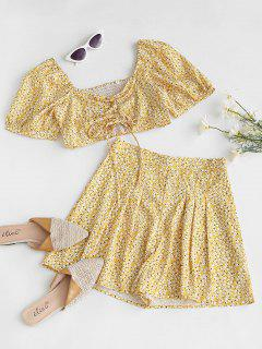 Cinched Front Smocked Ditsy Print Two Piece Set - Yellow L