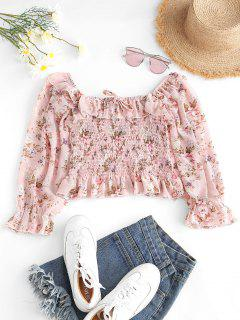 Floral Smocked Ruffles Milkmaid Blouse - Light Pink