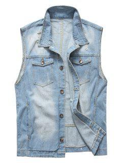 Double Pockets Button Up Distressed Jean Vest - Light Blue L