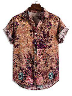 Chemise Vintage Fleur Imprimée à Manches Courtes - Kaki L