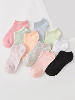 10Pairs Candy-colored Cotton No-show Socks Set - Multi-a