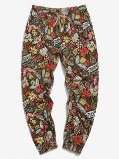 Allover Floral Print Ethnic Linen Pencil Pants - Coffee 2xl