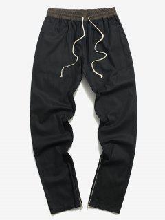 Pantalon Décontracté Fuselé Fendu Zippé - Noir 2xl