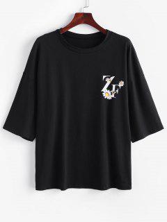 T-Shirt Graphique Marguerite Surdimensionné - Noir S