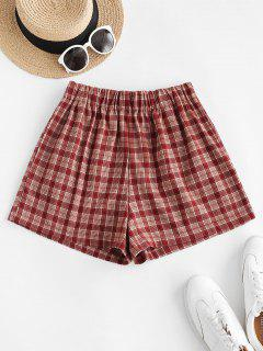 Plaid Pocket Pull-on Shorts - Red L
