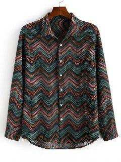 Tribal Zigzag Print Button Down Shirt - Deep Green L