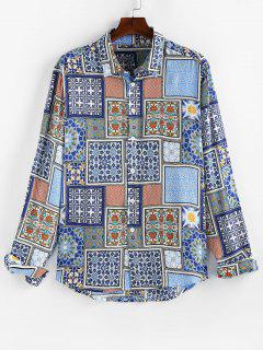 ZAFUL Pattern Block Casual Dip Hem Shirt - Jeans Blue 2xl
