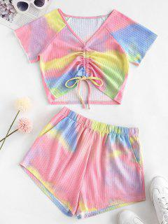 Tie Dye V Neck Crop Top Two Piece Set - Light Pink S