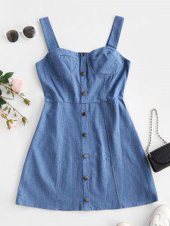 ZAFUL Mock Button Bustier Denim Dress - Light Blue L