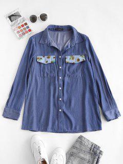 ZAFUL Chambray Flower Print Pocket Shirt - Light Blue S
