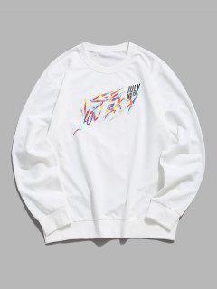 Sweat-shirtLettreImprimé à Col Rond - Blanc Xs