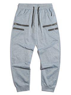 Zipper Detail Tapered Jogger Sweatpants - Light Gray S