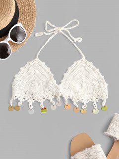 Halter Crochet Sequins Bikini Top - White