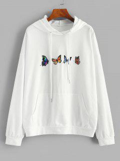 ZAFUL Drop Shoulder Butterfly Print Hoodie - White L