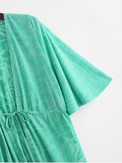 sale Drawstring Plunge Kimono Beach Cover Up - LIGHT GREEN ONE SIZE Mobile