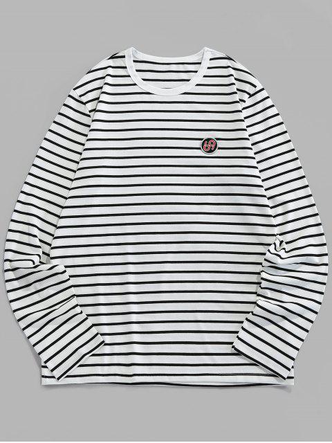 ZAFUL Camiseta de Manga Larga de Rayas de Bordado - Blanco M Mobile