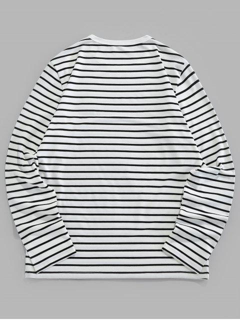 ZAFUL T-shirt de Manga Comprida com Bordado Listrado - Branco L Mobile