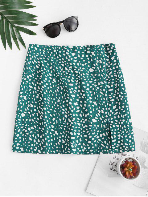 women Front Slit Dalmatians Print Mini Skirt - DEEP GREEN S Mobile