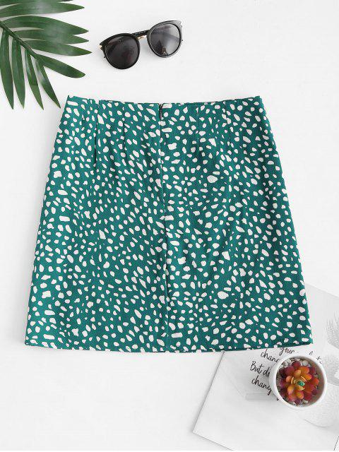 lady Front Slit Dalmatians Print Mini Skirt - DEEP GREEN M Mobile