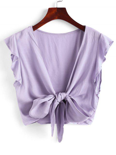 affordable Tie Front Ruffled Sleeve Cropped Blouse - LIGHT PURPLE S Mobile