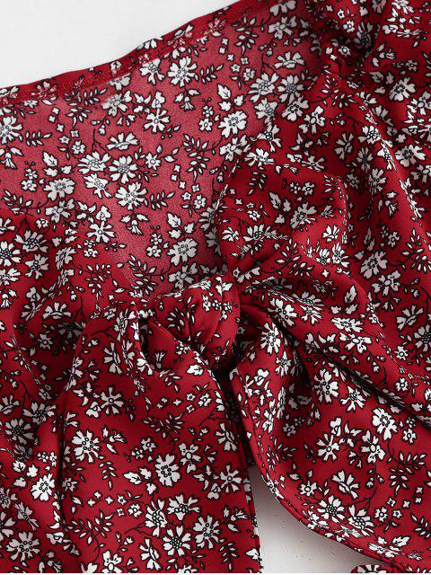 best Ditsy Floral Puff Sleeve Layered Ruffles Two Piece Dress - RED L Mobile