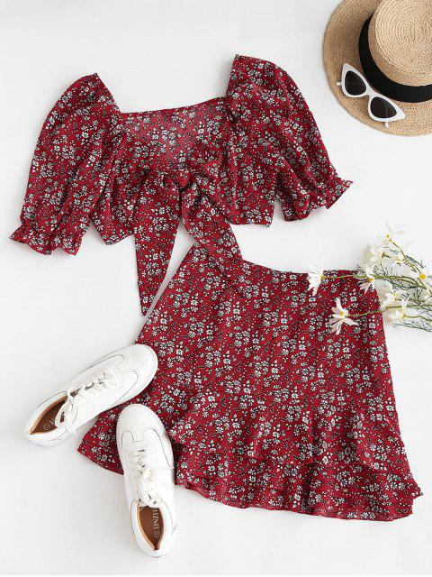 online Ditsy Floral Puff Sleeve Layered Ruffles Two Piece Dress - RED S Mobile
