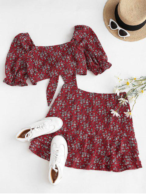 outfit Ditsy Floral Puff Sleeve Layered Ruffles Two Piece Dress - RED M Mobile
