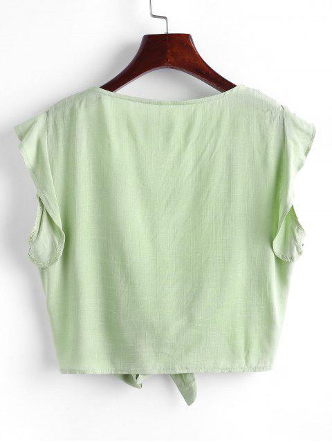 shops Tie Front Ruffled Sleeve Cropped Blouse - LIGHT GREEN M Mobile