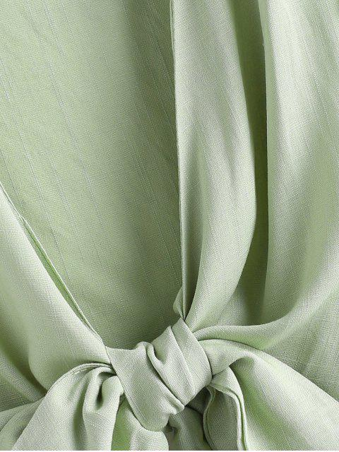 latest Tie Front Ruffled Sleeve Cropped Blouse - LIGHT GREEN S Mobile