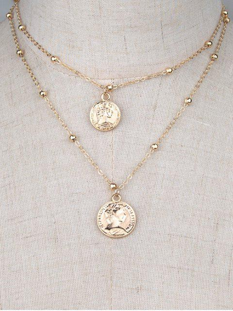 sale Two Layered Coin Necklace - GOLDEN  Mobile
