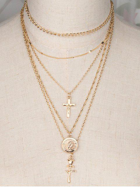 affordable Coin Crucifix Rose Layered Necklace - GOLDEN  Mobile
