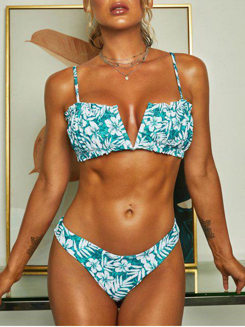 affordable ZAFUL Floral Leaf Side Boning V Wired Bikini Swimwear - LIGHT GREEN S Mobile