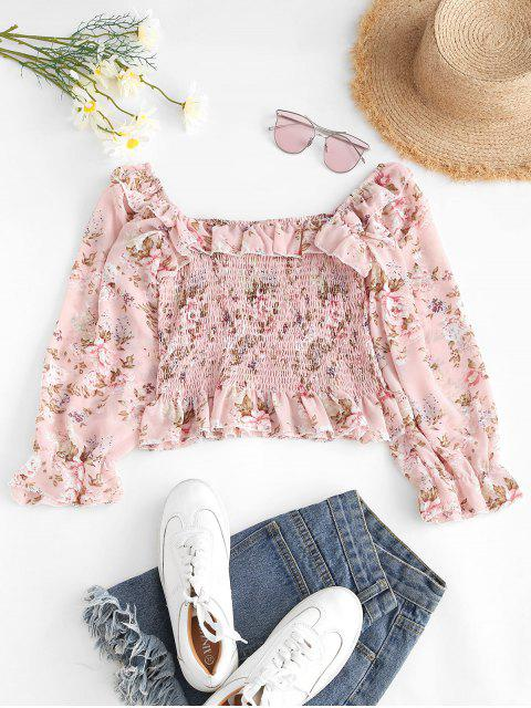 womens Floral Smocked Ruffles Milkmaid Blouse - LIGHT PINK ONE SIZE Mobile