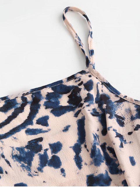 best Cami Asymmetrical Flame Zebra Tie Dye Cinched Dress - LIGHT PINK L Mobile