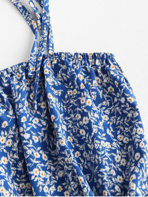 Mono Femenino Floral de Hombros Al Aire con Volantes - Azul S Mobile