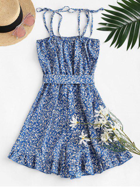 best Ruffled Hem Tie Shoulder Ditsy Floral Romper - BLUE S Mobile