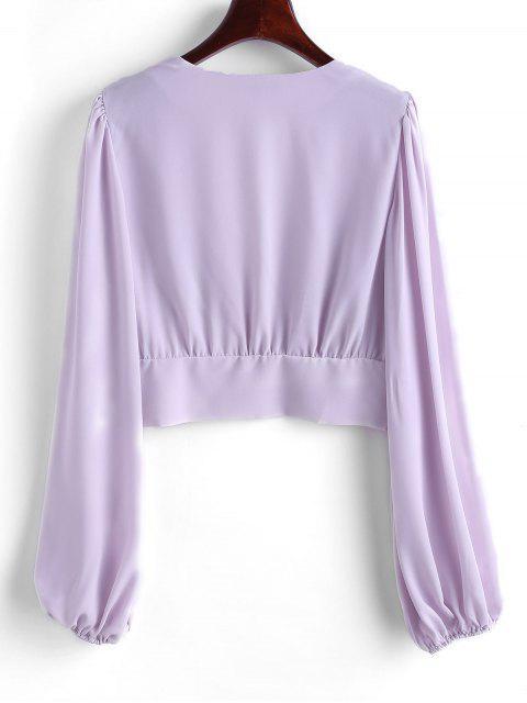 buy V Neck Button Loop Front Chiffon Blouse - LIGHT PURPLE S Mobile