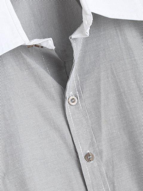 buy Contrast Pencil Stripe Shirt - GRAY L Mobile