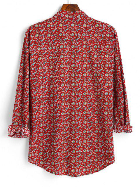 best Tiny Paisley Print Button Up High Low Shirt - RED M Mobile