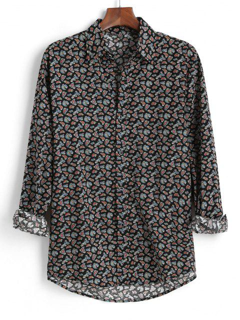 outfits Tiny Paisley Print Button Up High Low Shirt - BLACK M Mobile