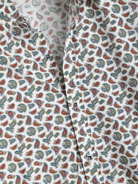 fancy Tiny Paisley Print Button Up High Low Shirt - WHITE XL Mobile