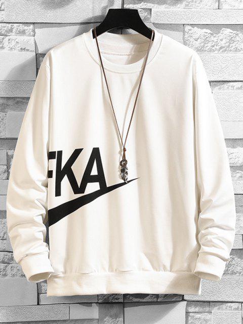 hot Letter Print Crew Neck Sweatshirt - WHITE S Mobile