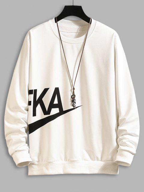 shop Letter Print Crew Neck Sweatshirt - WHITE XL Mobile