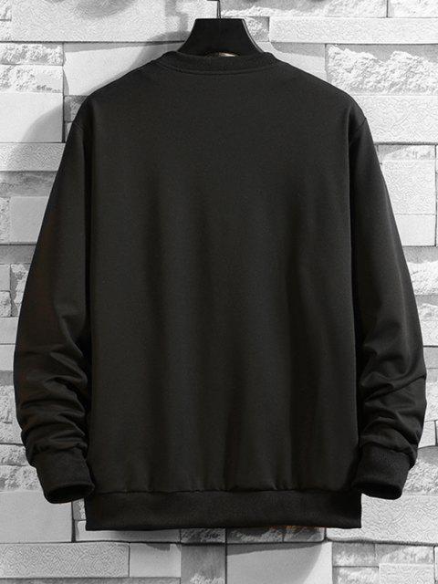 fashion Letter Print Crew Neck Sweatshirt - BLACK L Mobile
