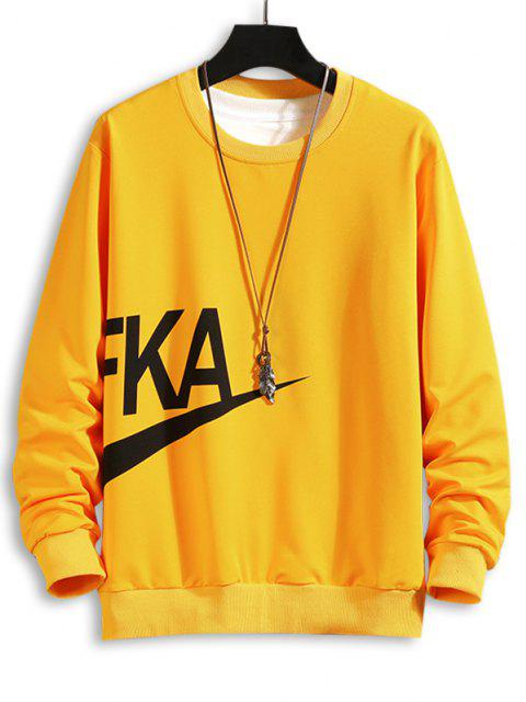 affordable Letter Print Crew Neck Sweatshirt - YELLOW L Mobile